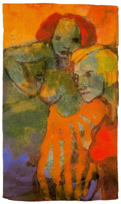 Two Women by Emile Nolde (1867-1956, Germany) | Oil Painting | ArtsDot.com