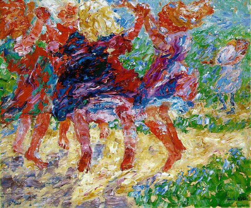 Wildly Dancing Children by Emile Nolde (1867-1956, Germany)