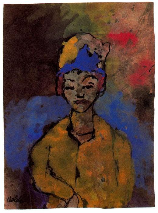 Woman (in a Blue Hat) by Emile Nolde (1867-1956, Germany) | Oil Painting | ArtsDot.com