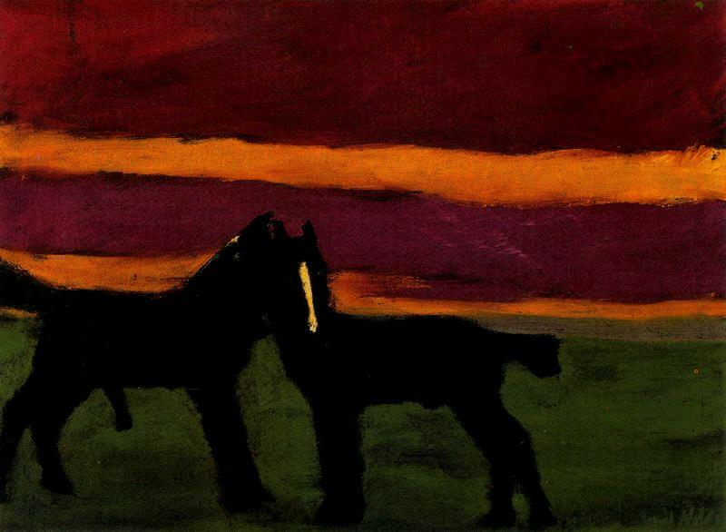 Young black horses by Emile Nolde (1867-1956, Germany)