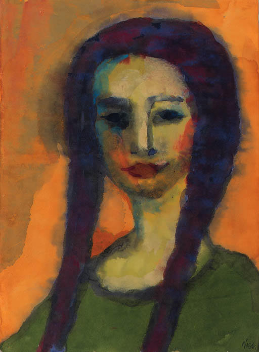 Young girl by Emile Nolde (1867-1956, Germany)