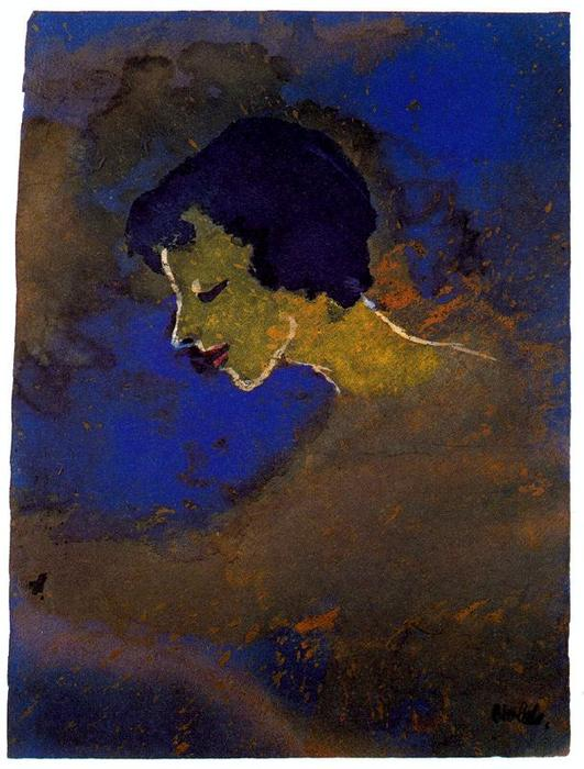 Young Woman in Profile by Emile Nolde (1867-1956, Germany)