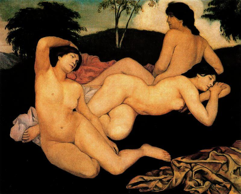 After the Bath, the Nymphs by Emile Bernard (1868-1941, France)