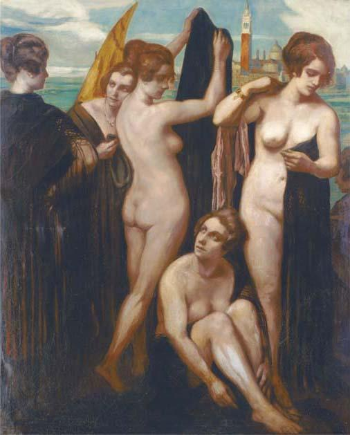 Order Painting Copy : Bathers in the lagoon, Venice by Emile Bernard (1868-1941, France) | ArtsDot.com