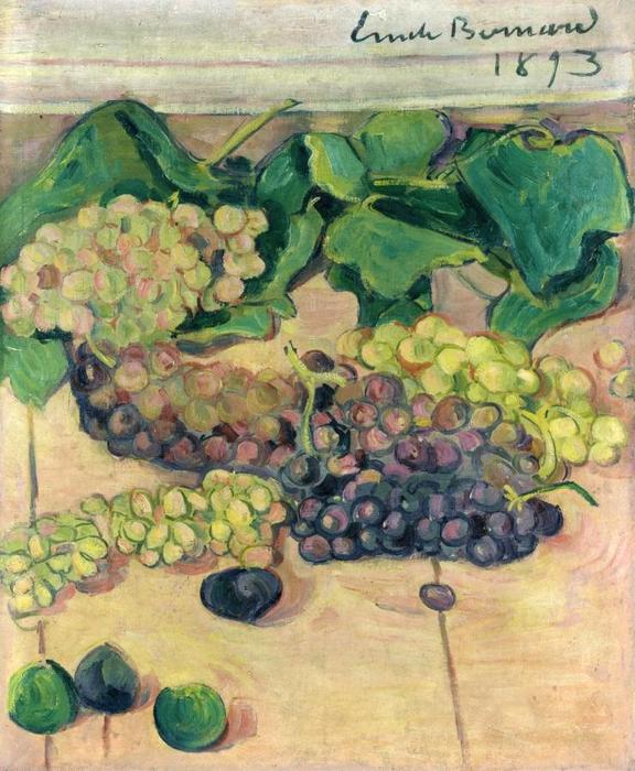 Still Life with Grapes, Oil On Canvas by Emile Bernard (1868-1941, France)