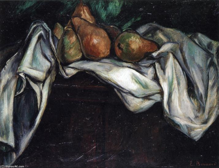 Still Life with Pears on a White Tablecloth, Oil On Canvas by Emile Bernard (1868-1941, France)
