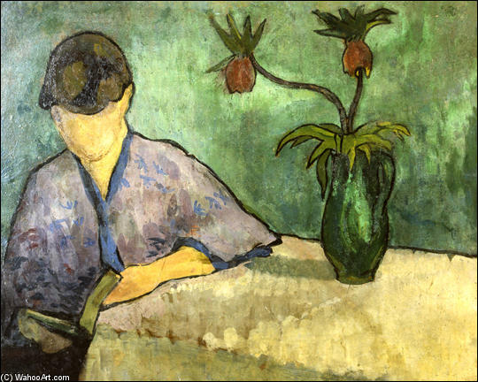 Young Woman in Kimono, Reading by Emile Bernard (1868-1941, France)