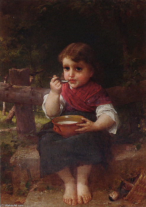 A Bowl of Milk by Emile Munier (1840-1895, France)