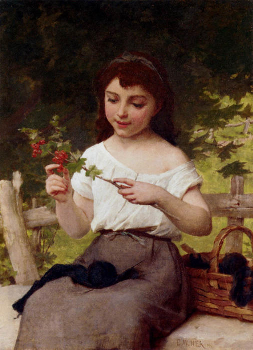 A Sprig of Berries by Emile Munier (1840-1895, France)
