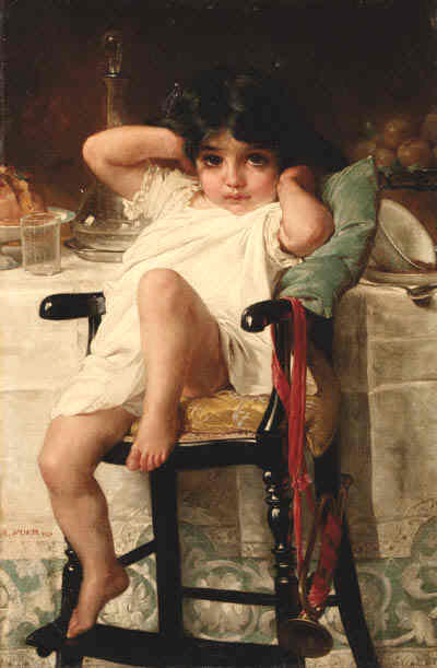After Dinner by Emile Munier (1840-1895, France)