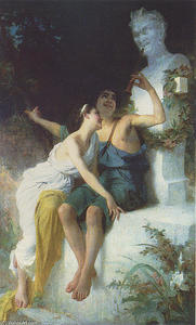 Emile Munier - Bacchantie Frolic before a Herm of a Satyr