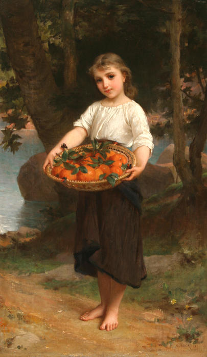 Girl with Basket of Oranges by Emile Munier (1840-1895, France)