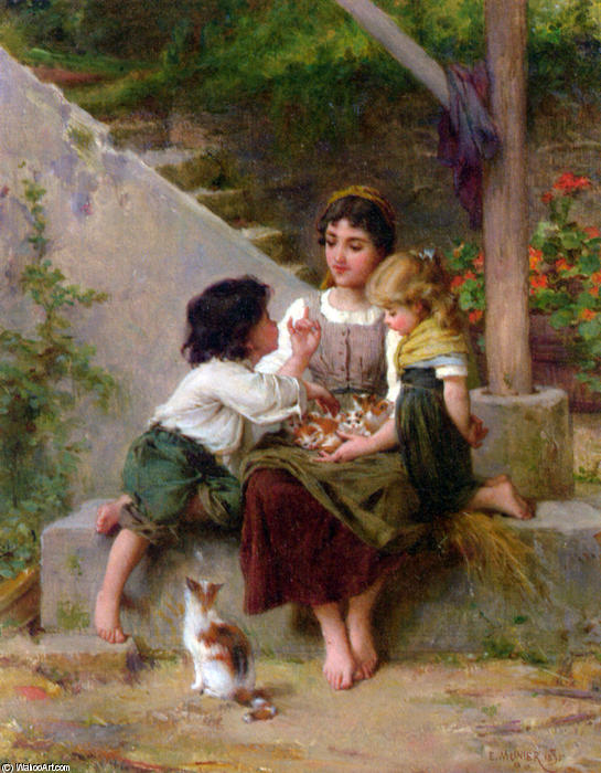 Playing with the Kittens by Emile Munier (1840-1895, France)