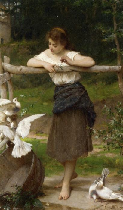 Teasing the Doves, Oil On Canvas by Emile Munier (1840-1895, France)