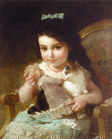The Little Girl by Emile Munier (1840-1895, France) | Oil Painting | ArtsDot.com