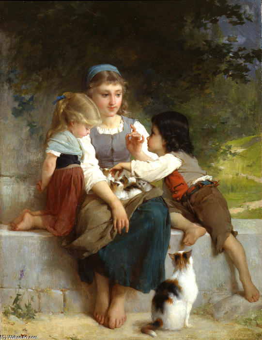 The New Pets by Emile Munier (1840-1895, France)