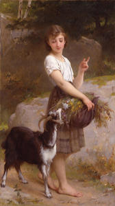 Emile Munier - Young Girl with Goat - Flowers