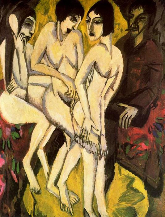 The Judgement of Paris by Ernst Ludwig Kirchner (1880-1938, Germany) | Paintings Reproductions Ernst Ludwig Kirchner | ArtsDot.com