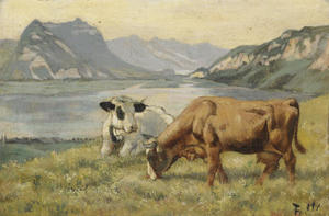 Ferdinand Hodler - Two cows from Lake Thun countryside