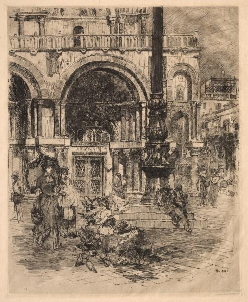 Piazza San Marco, Venice by Frank Duveneck (1848-1919, United States)