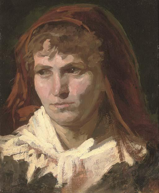 Portrait of a lady, bust-length, in a red headscarf by Frank Duveneck (1848-1919, United States)