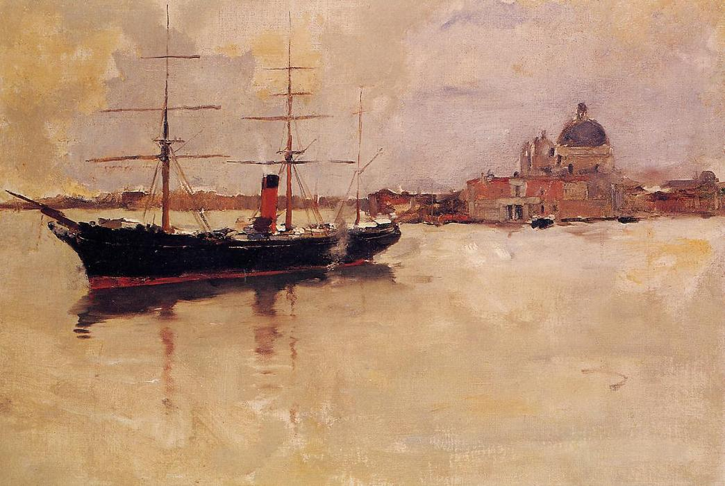 Ship in Grand Canal, Oil On Canvas by Frank Duveneck (1848-1919, United States)