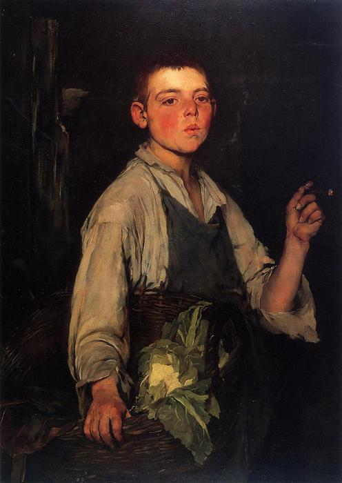 The Cobbler's Apprentice, Oil On Canvas by Frank Duveneck (1848-1919, United States)