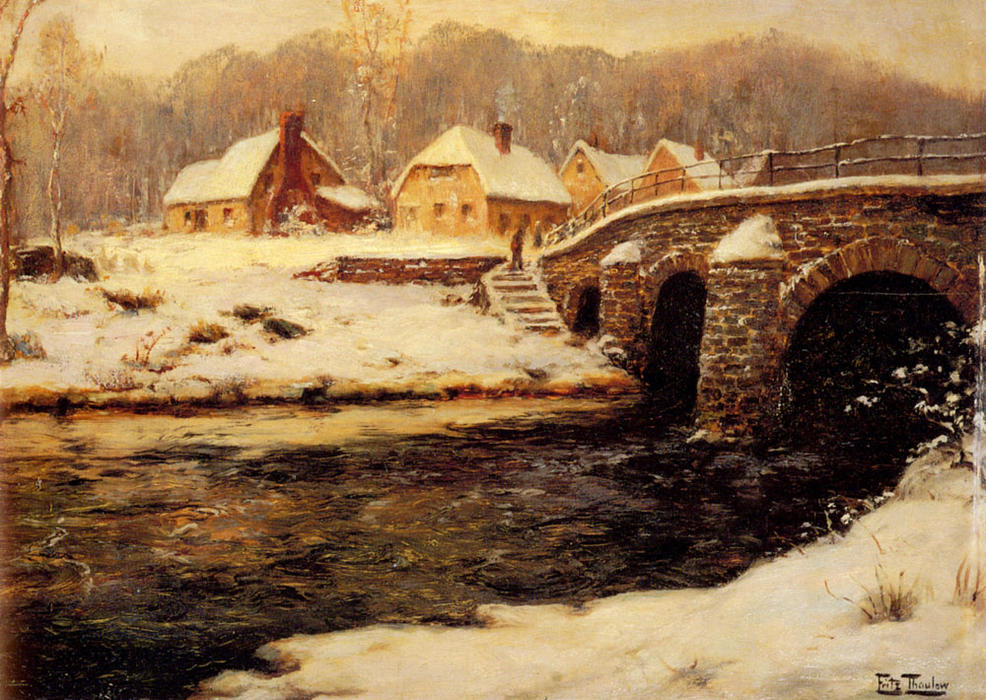 A Stone Bridge Over a Stream in Winter by Frits Thaulow (1847-1906, Norway) | ArtsDot.com