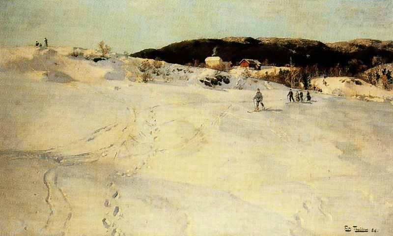 A Winter Day in Norway by Frits Thaulow (1847-1906, Norway)