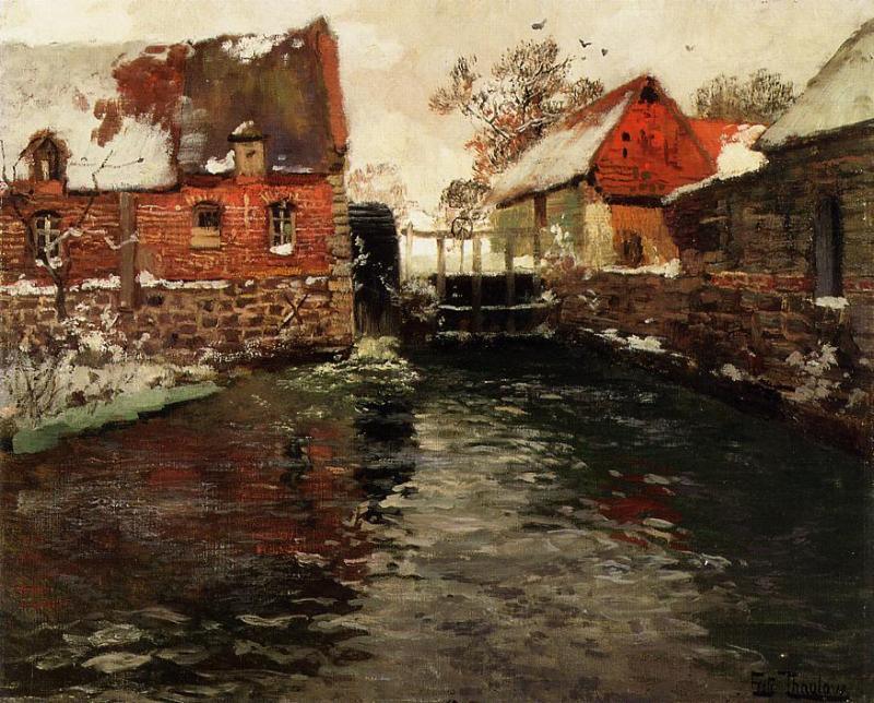 The Mill, 1895 by Frits Thaulow (1847-1906, Norway) | Museum Quality Reproductions | ArtsDot.com