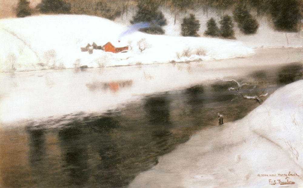 Winter at Simoa River, Pastel by Frits Thaulow (1847-1906, Norway)