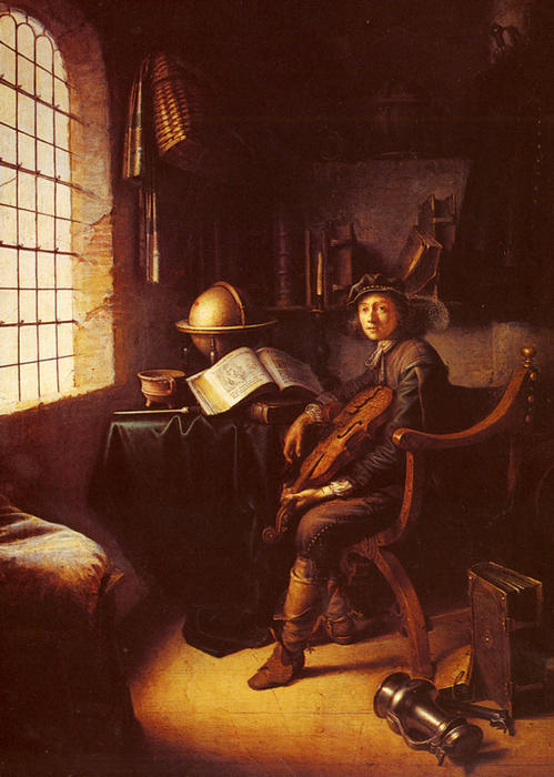 An Interior with a Young Violinist by Gerrit (Gérard) Dou (1613-1675, Netherlands) | Art Reproduction | ArtsDot.com