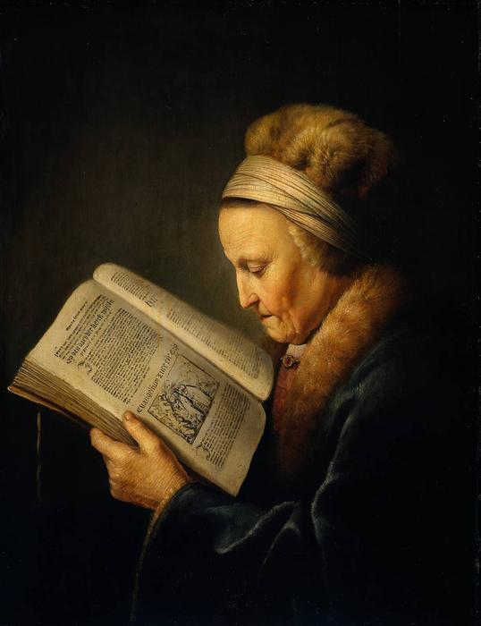 Old Woman Reading a Lectionary by Gerrit (Gérard) Dou (1613-1675, Netherlands)