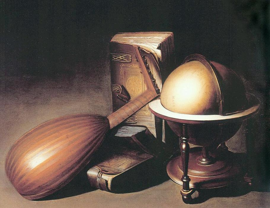 Still Life with Globe, Lute, and Books by Gerrit (Gérard) Dou (1613-1675, Netherlands) | ArtsDot.com