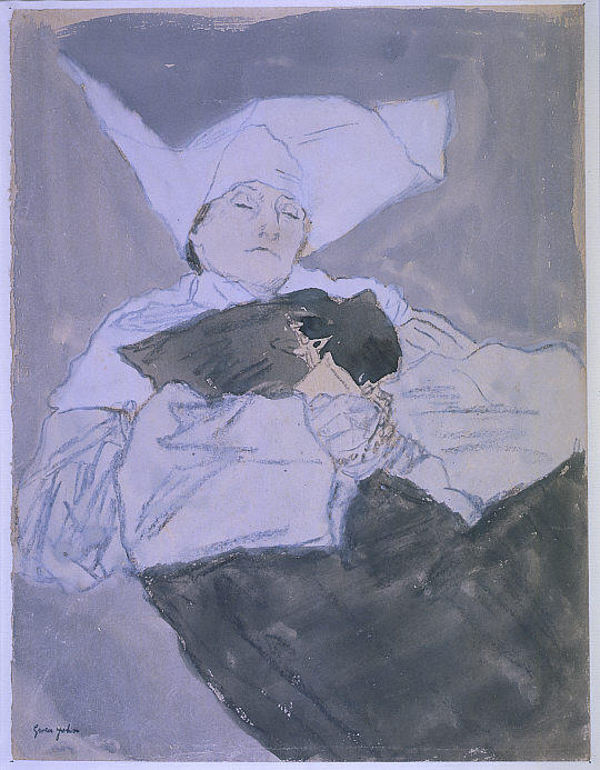 A Nun on her Deathbed by Gwen John (1876-1939, United States) | Museum Art Reproductions | ArtsDot.com