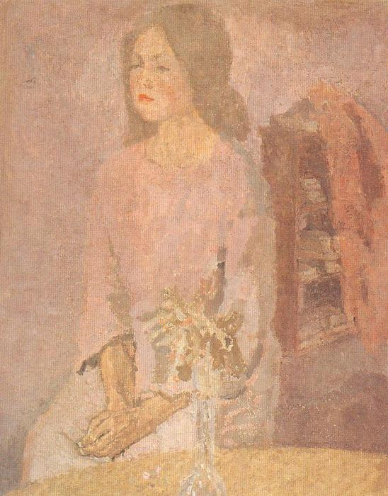 Girl in Rose by Gwen John (1876-1939, United States)