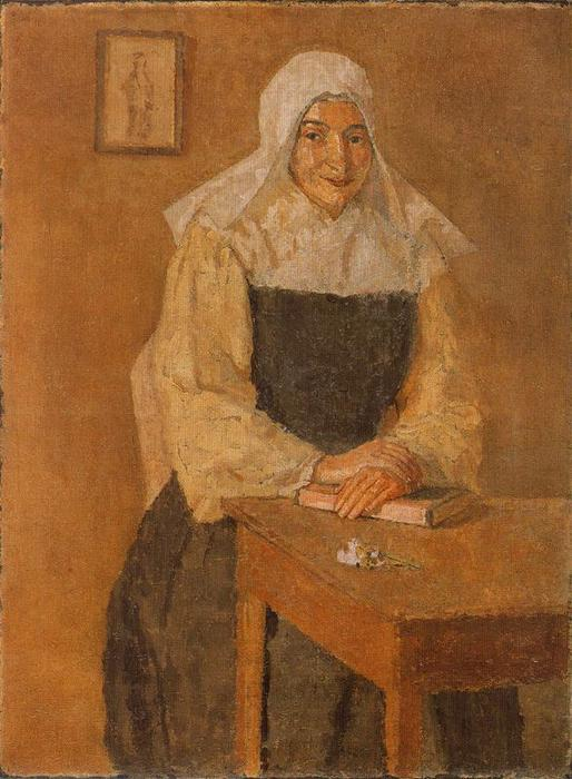 Mère Poussepin Seanted at a Table by Gwen John (1876-1939, United States)