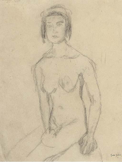 Seated female nude by Gwen John (1876-1939, United States)