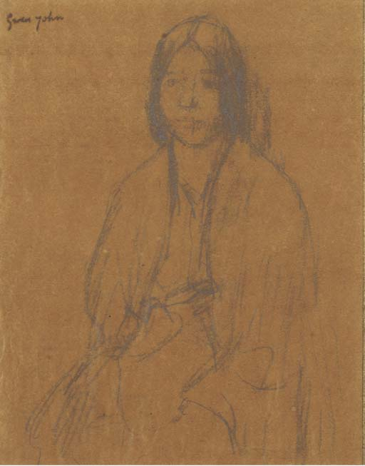 Seated girl by Gwen John (1876-1939, United States)