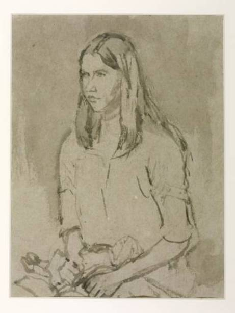 Study of a Girl Holding a Doll by Gwen John (1876-1939, United States) | Museum Art Reproductions | ArtsDot.com