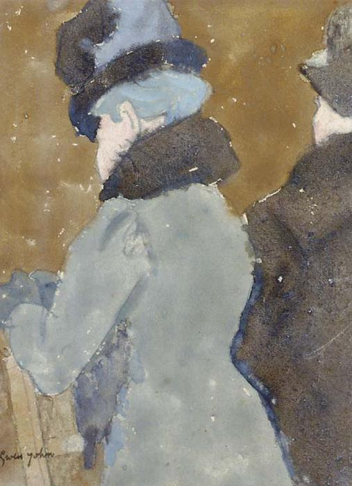 Two ladies at a balustrade, three-quarter view from behind by Gwen John (1876-1939, United States)
