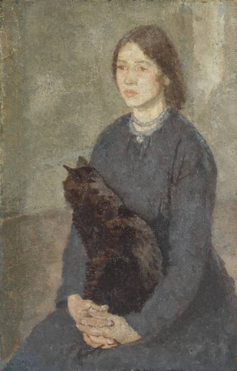 Young Woman Holding a Black Cat by Gwen John (1876-1939, United States) | Oil Painting | ArtsDot.com