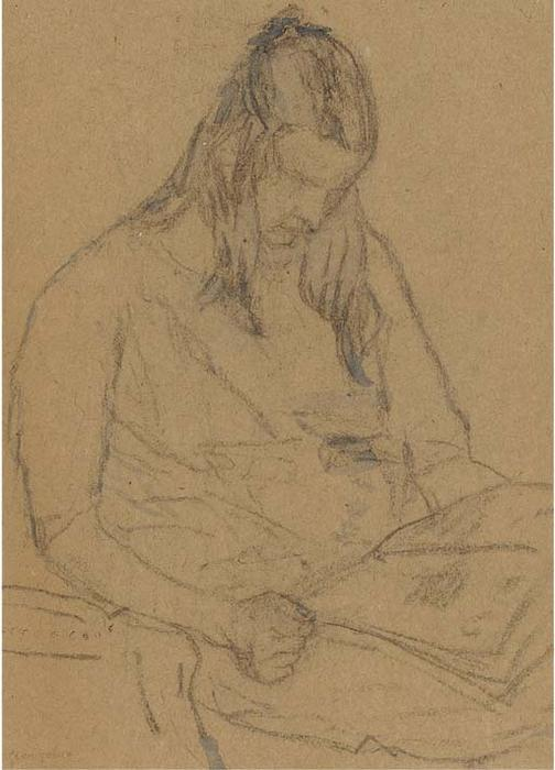 Young Woman Reading a Paper by Gwen John (1876-1939, United States)