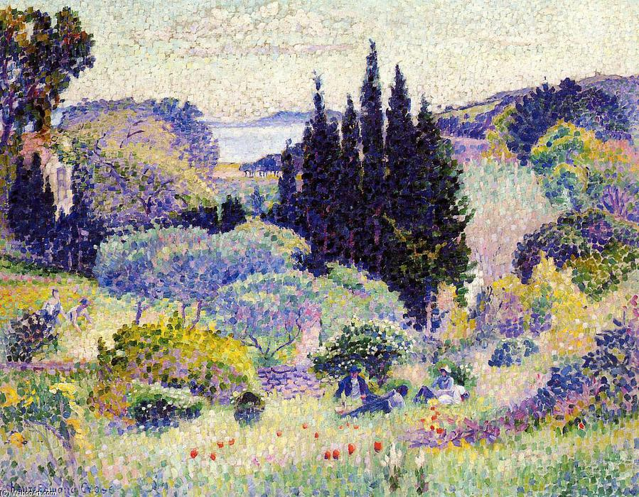 Cypress, April, Oil On Canvas by Henri Edmond Cross (1856-1910, France)