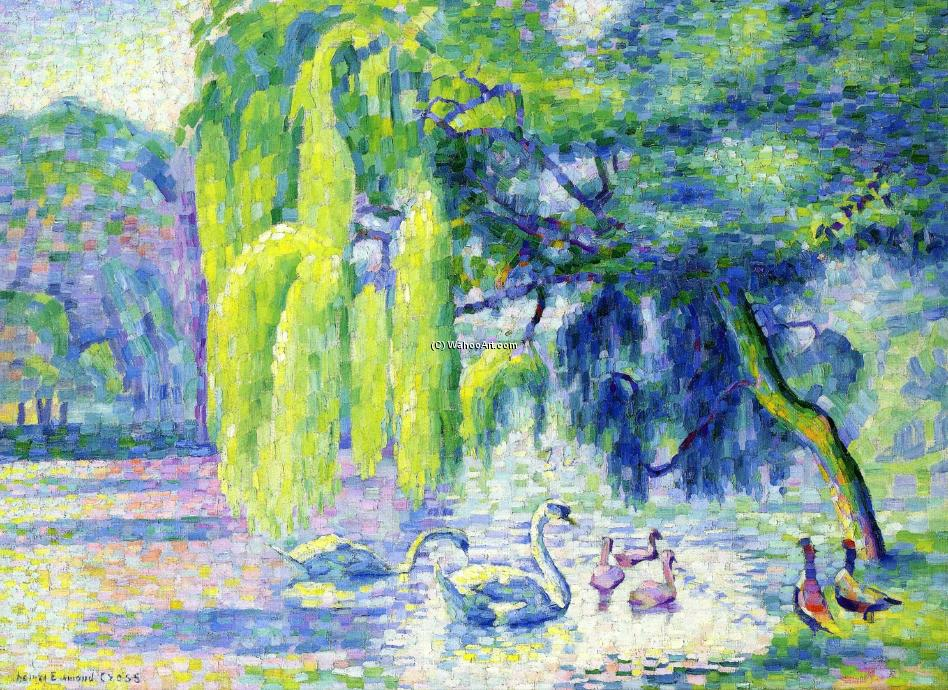 Family of Swans, Oil On Canvas by Henri Edmond Cross (1856-1910, France)