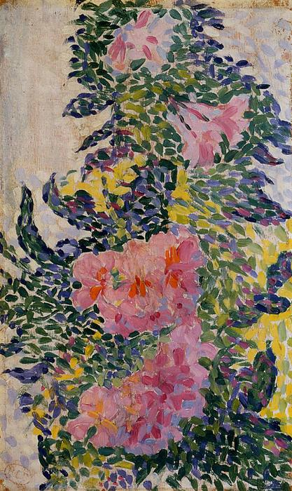 Flowers, Oil On Panel by Henri Edmond Cross (1856-1910, France)