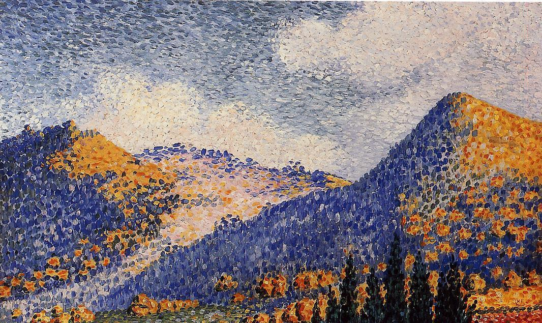 Landscape, the Little Maresque Mountains, Oil On Canvas by Henri Edmond Cross (1856-1910, France)