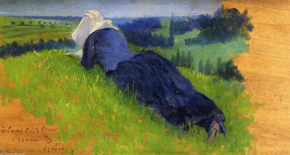 Peasant Woman Stretched out on the Grass, Oil On Panel by Henri Edmond Cross (1856-1910, France)