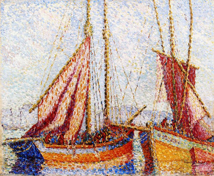 Sailboats, Oil On Panel by Henri Edmond Cross (1856-1910, France)