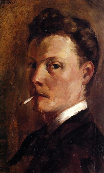 Self Portrait with Cigarette, Oil On Panel by Henri Edmond Cross (1856-1910, France)
